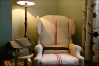Vintage Upcycled Winged Chair