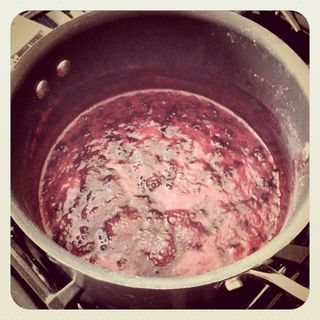 Making Jam from Blackberries