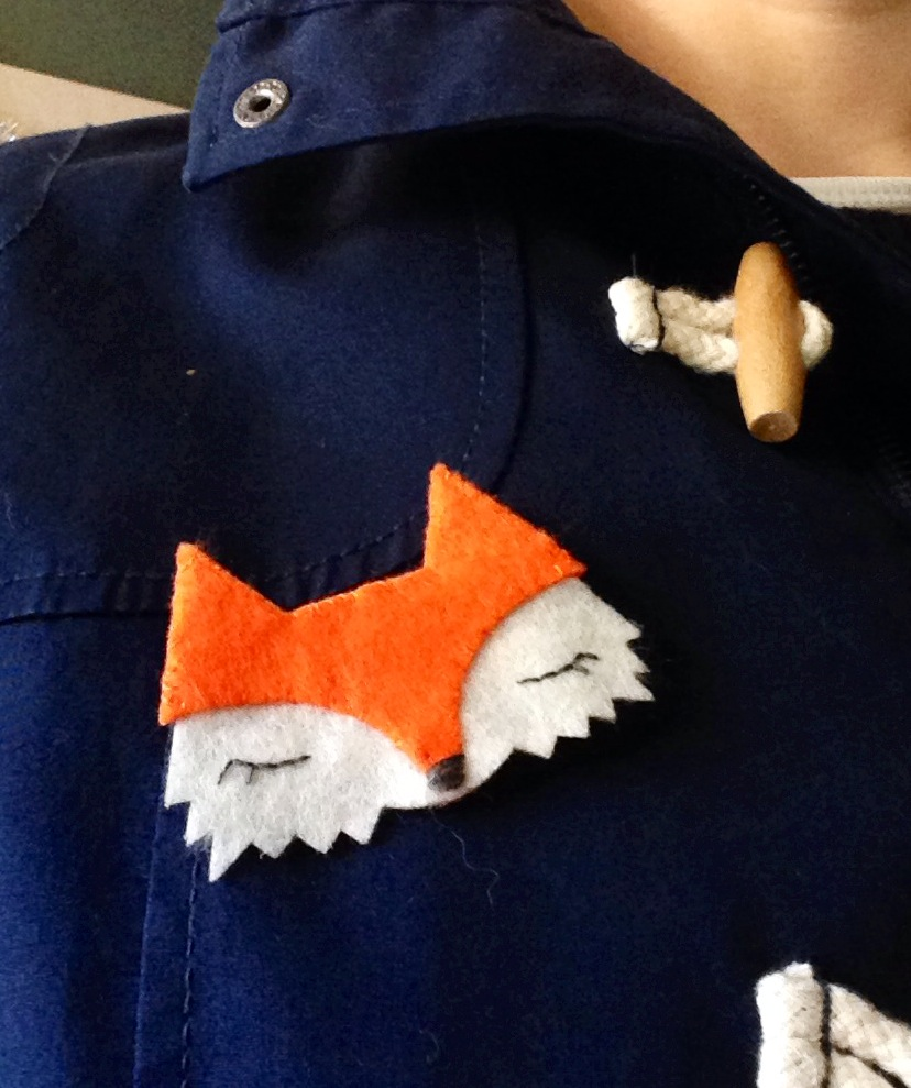 orange fox brooch