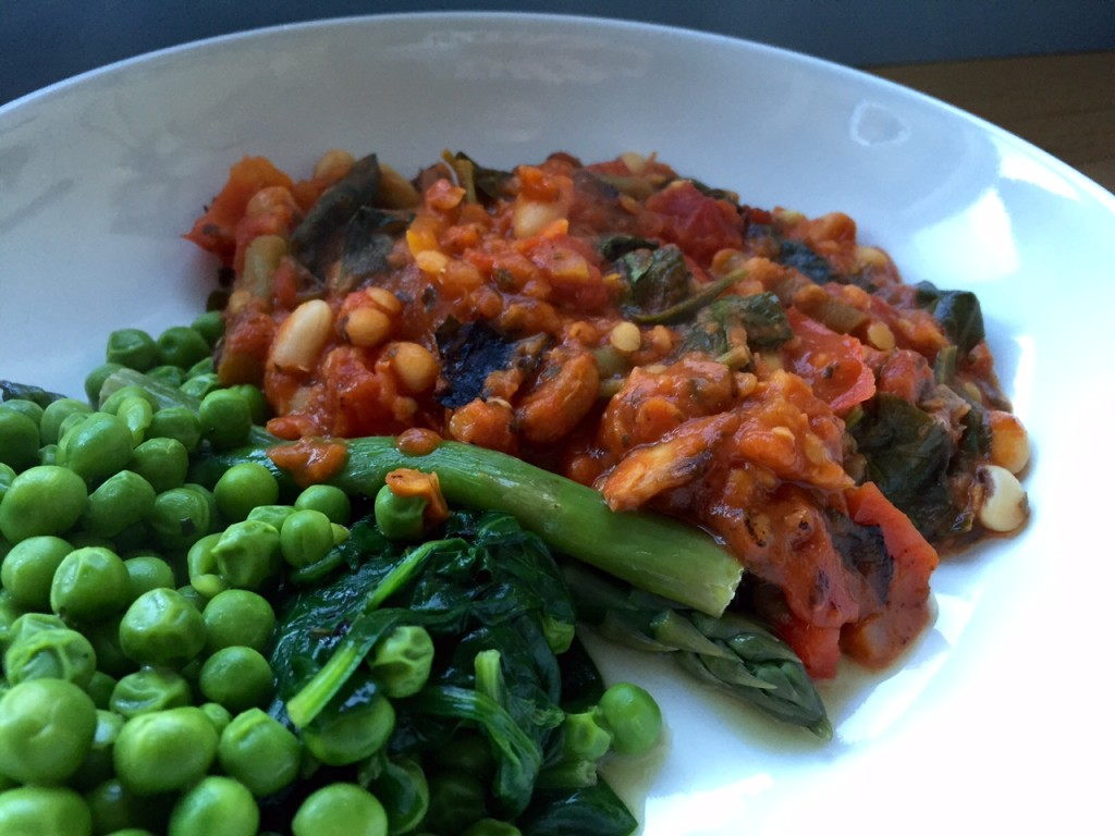 Red Lentil and Mixed Bean casserole