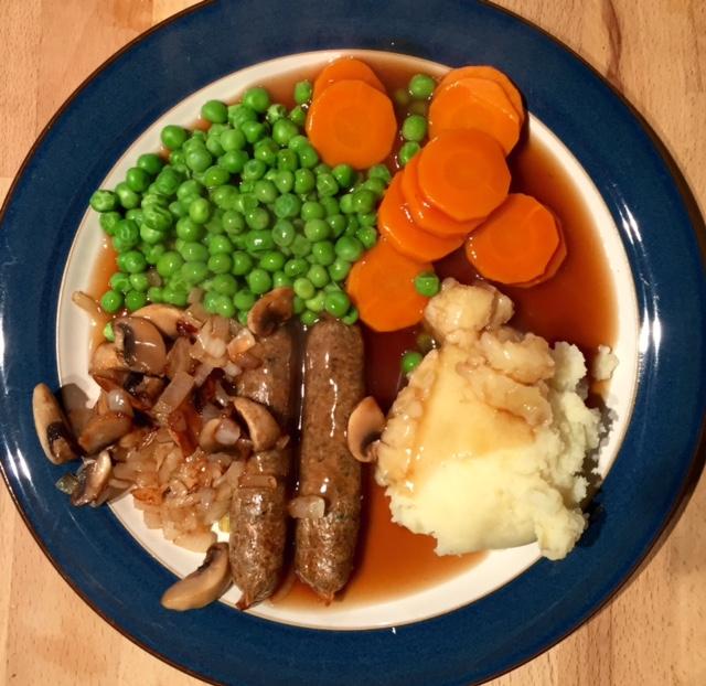 Vegan sausage and mash