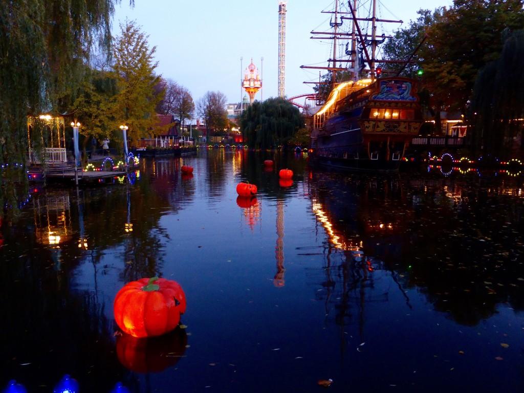 pumpkins in the water