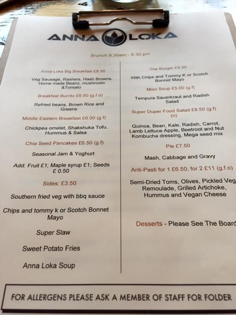 Anna Loka menu