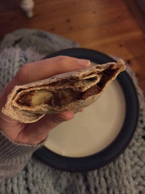 Homemade nutella wrap