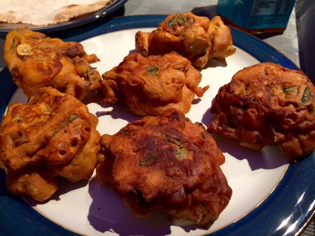 Homemade vegan onion bhajis