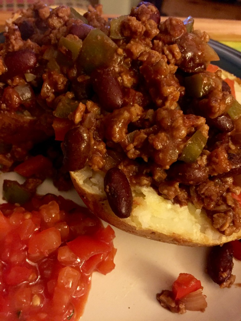 Vegan chilli and jacket potatoes