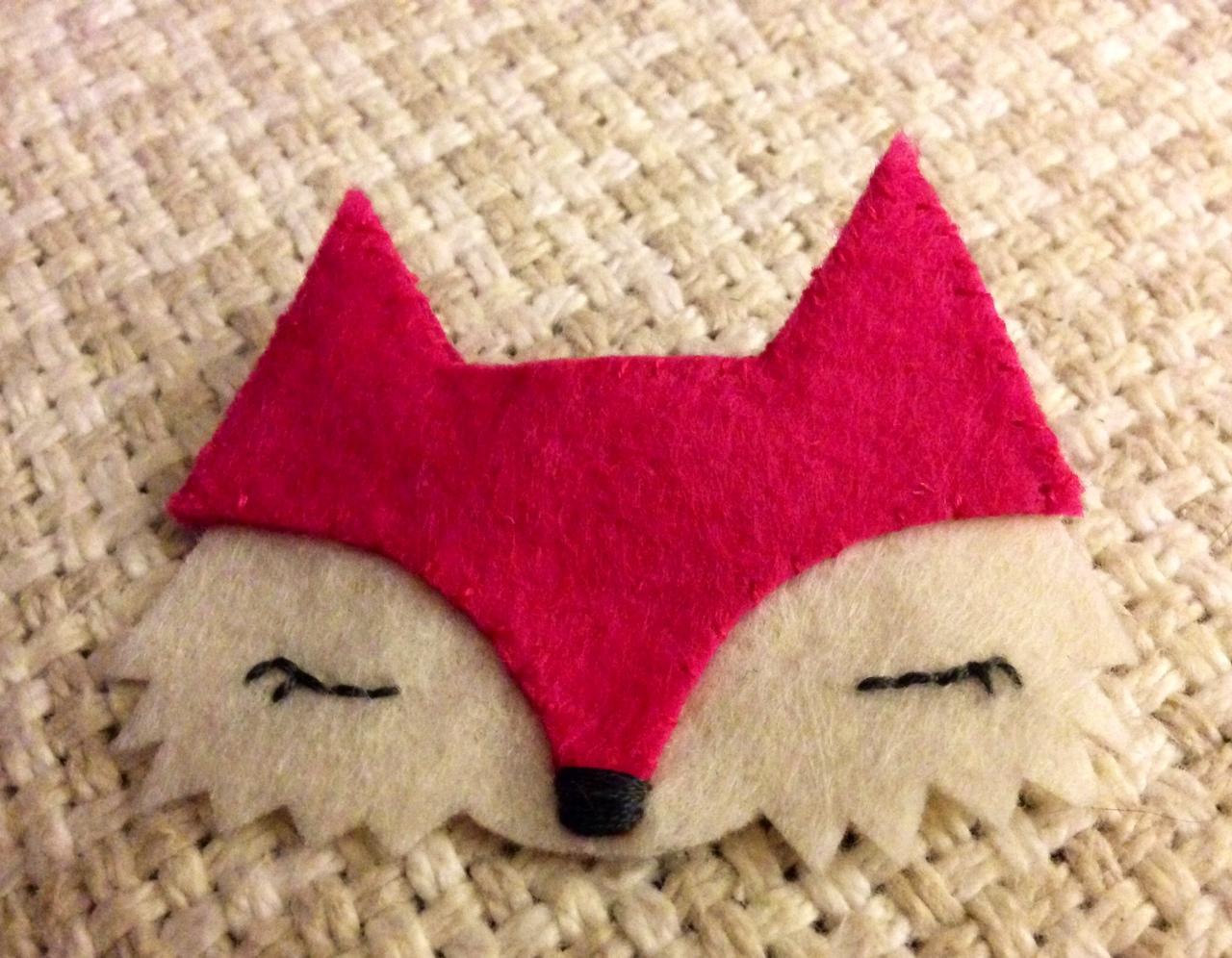 pink fox brooch