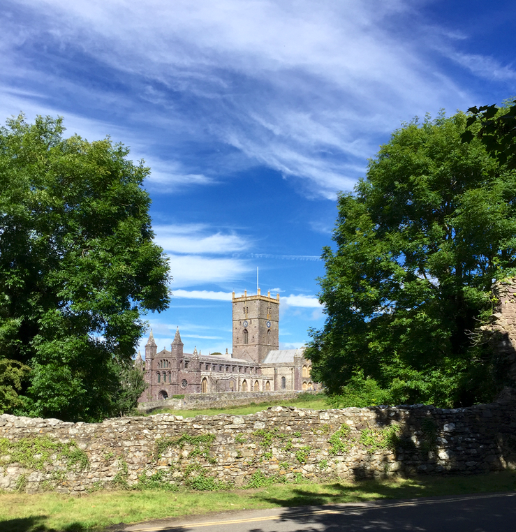 St Davids cathedral in the sun